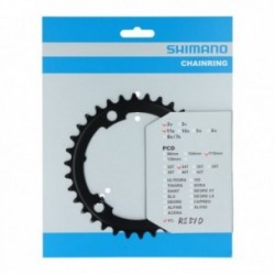 Shimano, Corona, 105, FC-R7000, 34D-MS, 4-bracci ( 2x11-vel. ), per 50-34D, giro bulloni 110 mm, colore nero, conf. originale, (