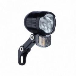 Büchel, Impianto illuminazione, Faretto anteriore a LED, Shiny 40, 40 Lux, E-Bike 6-48V, con supporto in acciaio inox, con suppo