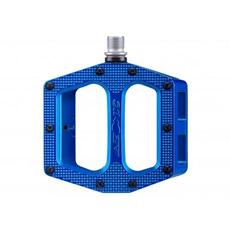 Azonic, Pedali, MTB, Pucker Up Pedal, colore blu, robusto pedale da DH- e AM , piattaforma: 100x100mm, in alluminio colato, pern
