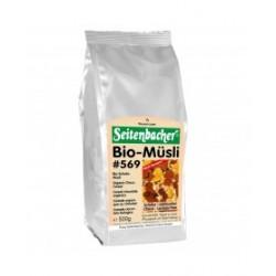 Seitenbacher Müsli Bio Schoko Müsli 500g con 27%  cioccolato (senza lattosio e vegano) diversi cereali e uva sultanina biologici