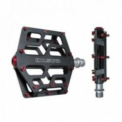 Pedali Exustar MTB E-PB531 103x100mm in alluminio estruso pin rosso