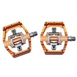 Pedali MTB sgancio rapido HT Components DH RACE X2 Platform-/Clickpedals arancio