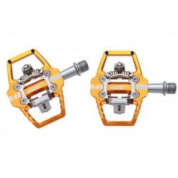 Pedali MTB sgancio rapido HT Components ENDURO RACE T1 Platform-/Clickpedals arancione