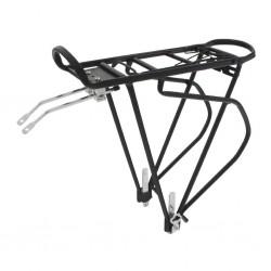 """O-Stand, Portapacchi, """"TRAVELLER A I"""", alluminio, con molla di serraggio e supporto per catadiottro, per 24""""-29"""", colore nero, c"""