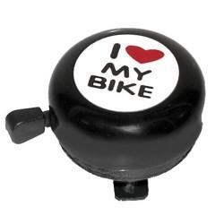 """absolut, Campanello, acciaio, colore nero, Ø 54mm, montaggio al manubrio 22.2mm, con adesivo """"i love my bike"""""""
