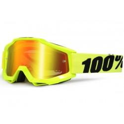 Maschera 100% Accuri - lenti a specchio Anti Foggiallo fluo
