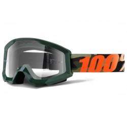 Maschera 100% Strata Huntsitan lenti chiare Anti-Fog nero/rosso