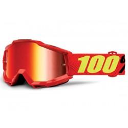 Maschera 100% Accuri Saarinen lenti a specchio rosso Anti-Fog rosso/giallo