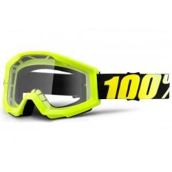 Maschera 100% Strata Neon Yellow lenti chiare Anti-Fog giallo
