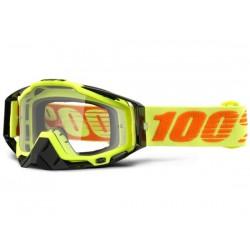 Maschera 100% Racecraft Attack Yellow lenti chiare Anti-Fog giallo/aracione