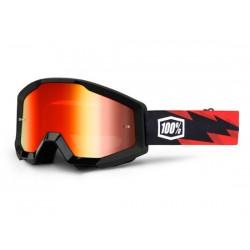 Maschera 100% Strata - Anti Fog lenti a specchio rosso Slash nero/rosso