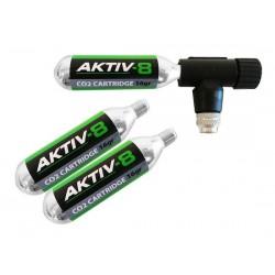 Set pompa CO2 AKTIV-8 incl. 3 cartucce da 16g con filettatura