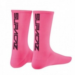 SUPACAZ Calze Modello Mezza Altezza Neon Rosa/Nero (L/XL)