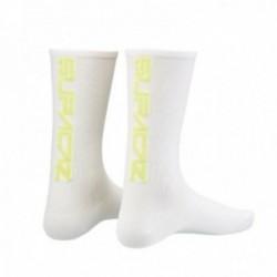 SUPACAZ Calze Modello Mezza Altezza Bianche Fluo (L/XL)