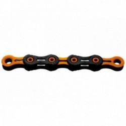 KMC, Catena, X-11 SL DLC Super Light, 118 link, nero-orange, New Triple X Durability, per 11-vel., con perno cavo e maglie caten