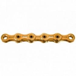 KMC, Catena, X11SL Ti-N Gold, per 11-vel., 118-link, a perno cavo, maglie interne ed esterne a peso ridotto,  NON direzionabile,