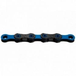 Catena KMC DLC 12 126 maglie 12 velocità nero/blu rivestimento Diamant a perno cavo