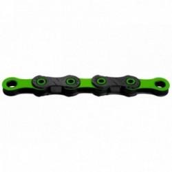 Catena KMC DLC 12 126 maglie 12 velocità nero/verde rivestimento Diamant a perno cavo