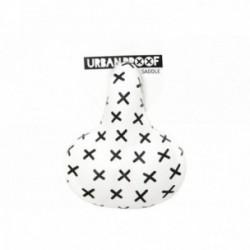 URBAN PROOF, Sella, Comfort, in pelle PU, idrorepellente, sospensione con protezione bimbi, one-size (27x21x12cm), bianco, White