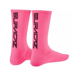 SUPACAZ CALZE SUPACAZ Neon Rosa logo Nero S/M