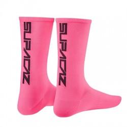SUPACAZ CALZE SUPACAZ Neon Rosa logo Nero L/XL